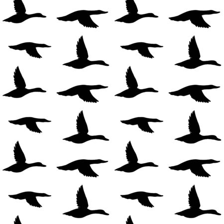 Vector seamless pattern of black flying duck silhouette isolated on white background Stock Illustratie
