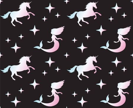 Vector seamless pattern of holographic unicorn and mermaid silhouette isolated on black background