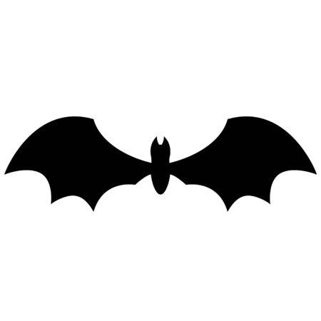 vector black bat flat cartoon silhouette isolated on white 向量圖像