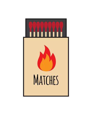 Vector flat cartoon match box isolated on white background Stock Illustratie