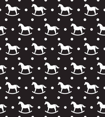 Vector seamless pattern of white rocking horse silhouette isolated on black background
