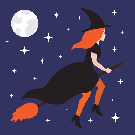 Vector flat cartoon witch flying broom isolated on blue sky background with moon and stars. Halloween illustration Illusztráció