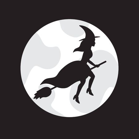 Vector black flying witch silhouette and moon isolated on black background