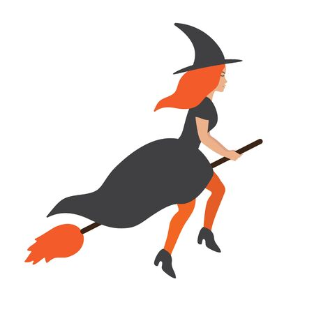 Vector flat cartoon witch flying broom isolated on white background. Halloween illustration Фото со стока - 132113383