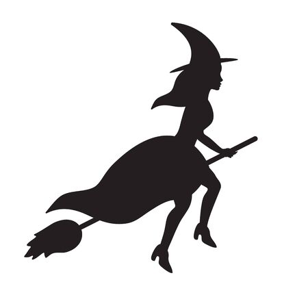 Vector flat black flying witch silhouette isolated on white background