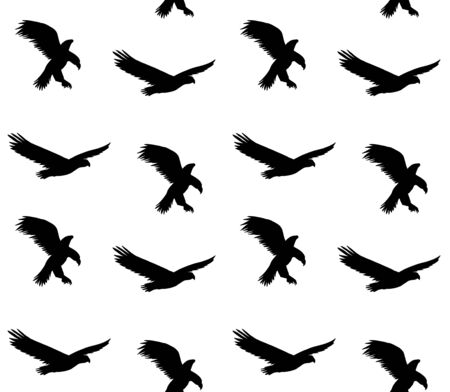 Vector seamless pattern of black flying eagle silhouette isolated on white background