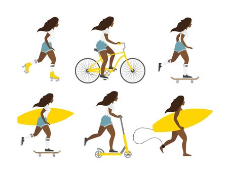 Vector flat cartoon set of different African American young women isolated on white background. Girls with surf, skate boards, rollers and scooter bundle illustration