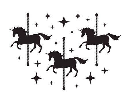 Vector black unicorn carousel silhouette with stars isolated on white background