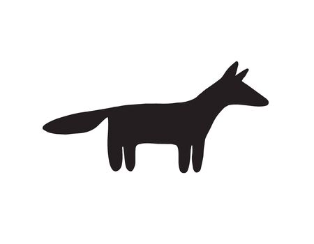 Vector hand drawn doodle black fox silhouette isolated on white background