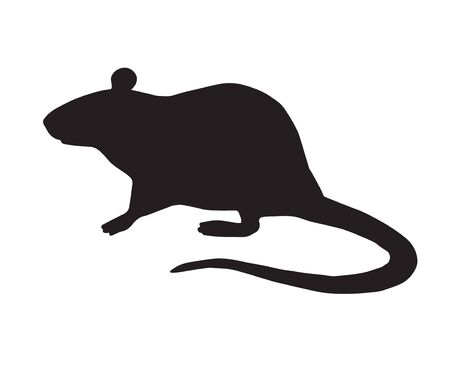 Vector flat black standing rat silhouette isolated on white background