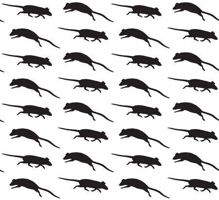 Vector seamless pattern of black rats mice silhouette isolated on white background Illusztráció