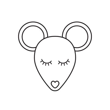 Vector flat outline mouse rat face icon isolated on white background