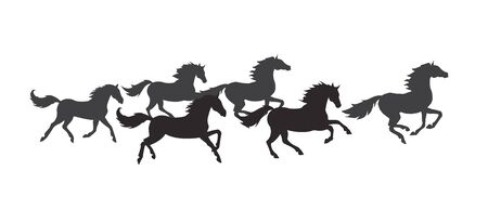 Vector flat black herd of galloping horses isolated on white background