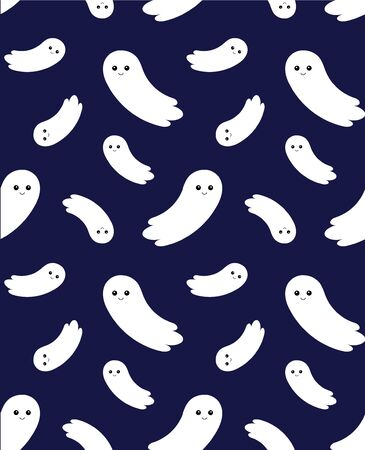 seamless pattern cute vector cartoon flat flying ghost isolated on blue background