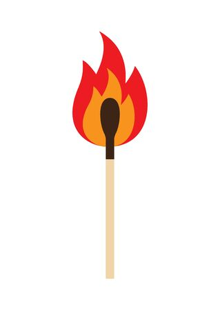 Vector flat cartoon burning fire match isolated on white background