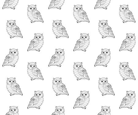 Vector seamless pattern of hand drawn sketch owl isolated on white background Stock Illustratie