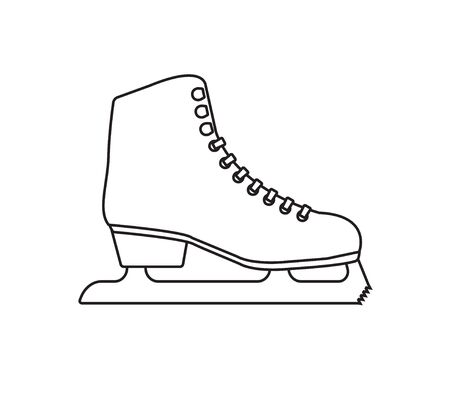 Vector flat black outline classic ice skate isolated on white background