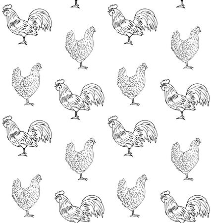 Vector seamless pattern of hand drawn chicken and rooster isolated on white background Stock Illustratie