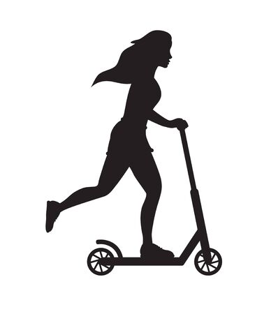 Vector black silhouette of girl riding a scooter isolated on white background Stock Illustratie