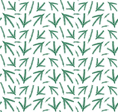 Vector seamless pattern of green Christmas winter pattern of spruce tree branches isolated on white background