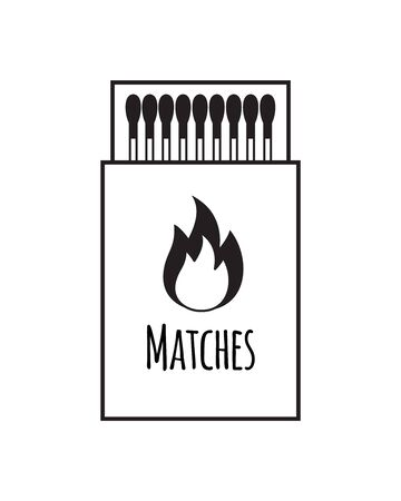 Vector flat black outline match box isolated on white background Stock Illustratie