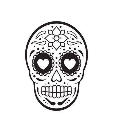 Vector black flat outline Day of The Dead Skull with floral ornament. Mexican sugar skull icon Stock Illustratie