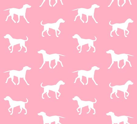 Vector seamless pattern of white Dalmatian dog silhouette isolated on pink background Stock Illustratie