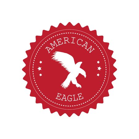 Vector round retro red logo with eagle silhouette isolated on white background Stock Illustratie