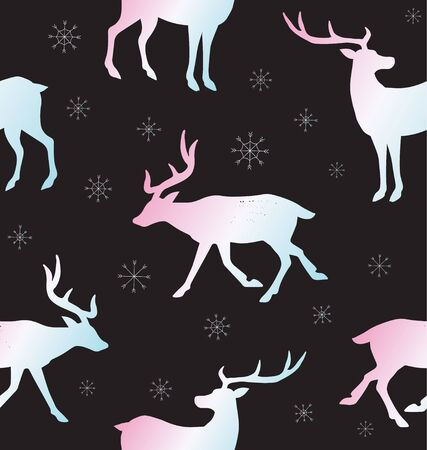 Vector seamless pattern of holographic deer silhouette and snow flakes isolated on black background