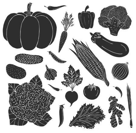 Vector hand drawn sketch doodle set bundle of black vegetables isolated on white background Stock Illustratie