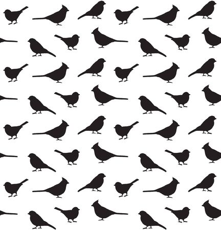 Vector seamless pattern of little birds silhouette isolated on white background