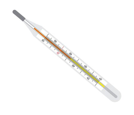 Vector flat cartoon realistic medical thermometer isolated on white background