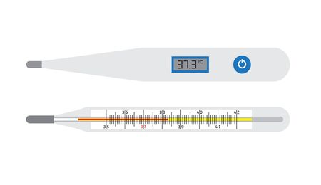 Vector flat cartoon realistic set of medical and digital thermometer isolated on white background