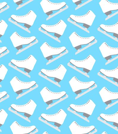 Vector seamless pattern of flat cartoon white ice skates isolated on blue background
