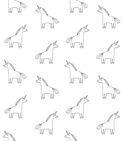 Vector seamless pattern of hand drawn doodle unicorn isolated on white background