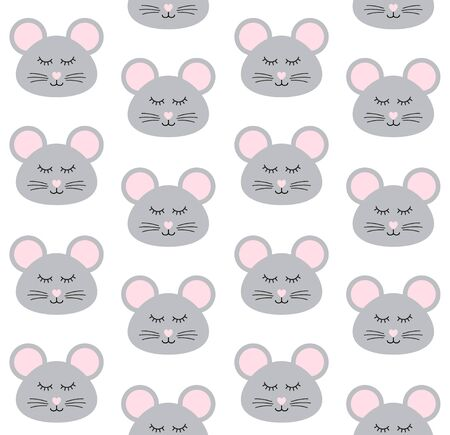 Vector seamless pattern of flat cartoon mouse rat face isolated on white background Stock Illustratie