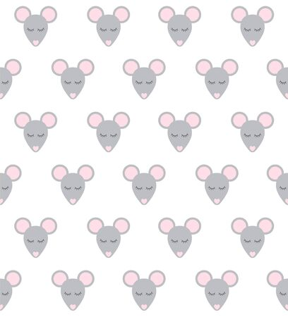 Vector seamless pattern of flat cartoon rat mouse face isolated on white background Stock Illustratie