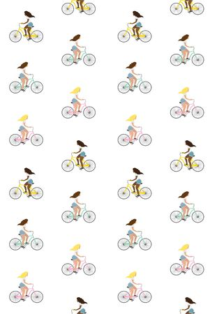 Vector seamless pattern of flat cartoon girl riding a bicycle isolated on white background Stock Illustratie