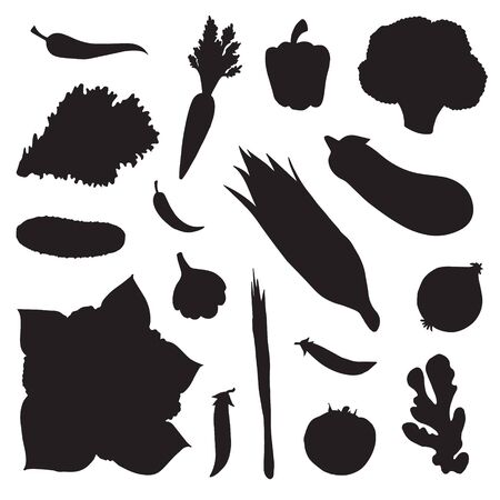 Vector set bundle of black flat vegetables silhouette isolated on white background