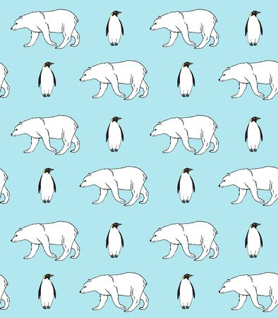 Vector seamless pattern of hand drawn emperor penguin and polar bear isolated on blue background