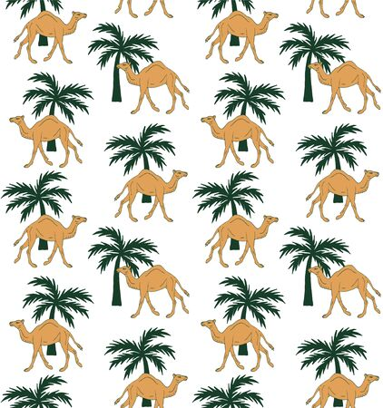 Vector seamless pattern of hand drawn camel and palm isolated on white background