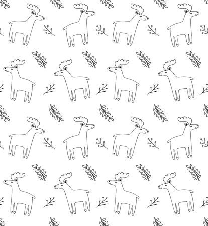 Vector Scandinavian seamless pattern of hand drawn doodle deer moose isolated on white background