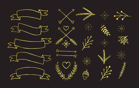 Vector golden set of hand drawn doodle winter Christmas elements,arrows,ribbons, symbols. Bundle of glitter holiday doodle isolated on black background