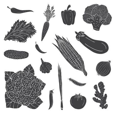 Vector hand drawn set bundle of black sketch doodle vegetables isolated on white background Stock Illustratie