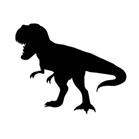 Vector black flat tyrannosaur rex dinosaur silhouette isolated on white background