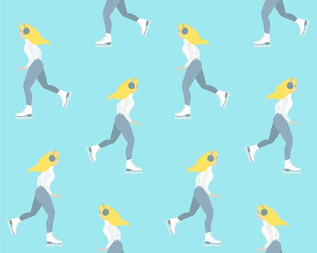 Vector seamless pattern of flat cartoon young woman riding ice skates isolated on pastel blue background