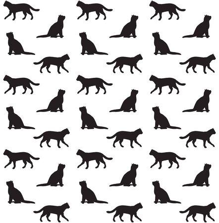 Modèle sans couture de vecteur de silhouette de chats noirs isolé sur fond blanc