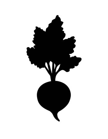 Vector flat black beet silhouette isolated on white background