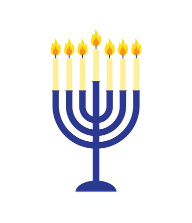 Vector flat cartoon Hanukah candles isolated on white background