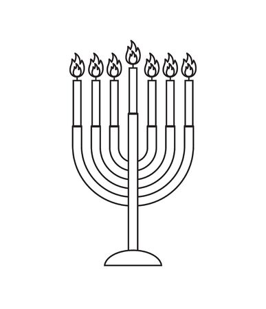 Vector black outline Hanukah candles isolated on white background